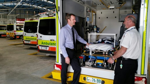 At the Ambulance Tasmania station in Launceston today (Sep 12) with duty manager Greg Edsall looking at a special operations ambulance