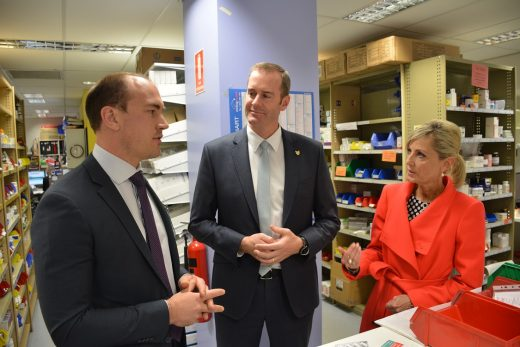 With Duncan McKenzie, the head of pharmacy at the Royal Hobart Hospital, and Speaker of the House, Elise Archer